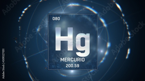 Vászonkép 3D illustration of Mercury as Element 80 of the Periodic Table