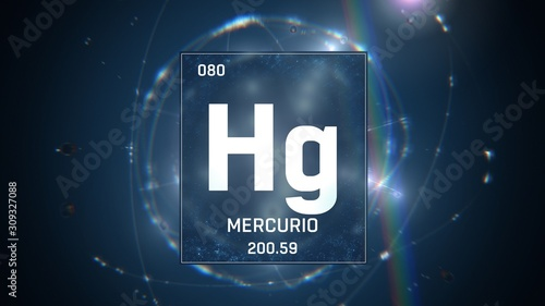 3D illustration of Mercury as Element 80 of the Periodic Table Wallpaper Mural