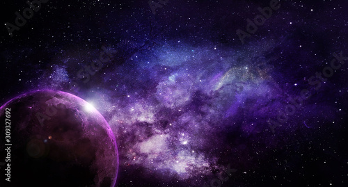 Photo abstract space illustration, moon in shining stars in violet tones
