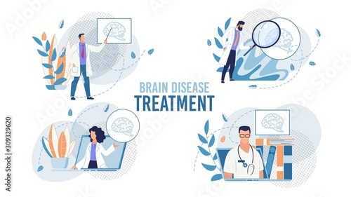 Brain Disease Determination and Treatment Set with Doctors at Work Scene Wallpaper Mural