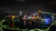 Bridges by Cathedral of Macau Peninsula in China timelapse