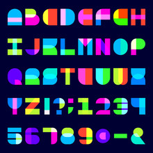 Abstract Colorful Alphabet Font. Blocky Letters And Numbers With Transparency. Stock Vector Typescript For Your Design.