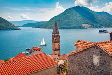 Not Far From The Famous City Of Kotor Is A Small Town Of Perast. Splendid Morning Scene Of Kotor Bay, Montenegro, Europe. Traveling Concept Background. Beautiful World Of Mediterranean Countries.