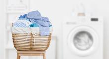 Laundry Basket On Blurred Back...