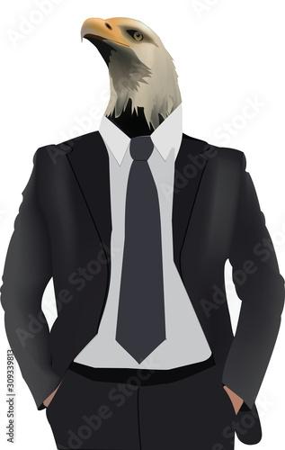 busto di uomo in giacca con testa d'aquila Fototapet