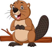 Cartoon Happy Beaver With Wood