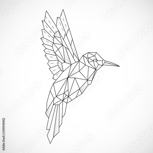 Abstract polygon hummingbird. Black geometric outline of a bird. Contour for tattoo, logo, emblem