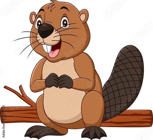 Photo Cartoon happy beaver with wood