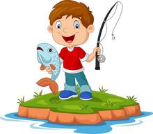 Cartoon Happy Little Boy Fishing