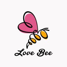 Outline Love Bee Logo Design