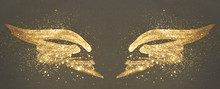 Golden Glitter On Abstract Gold Hand Painted Wings On Black Background