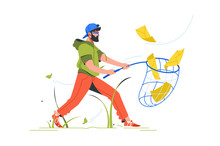 Bearded Man Cathing Mail With Notification Setting Using Butterfly Net.