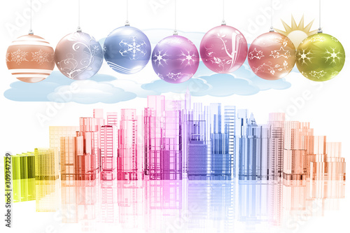 Papel de parede  Decorazione di Natale con sullo sfondo skyline di città con palazzi e grattacieli