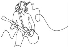 Continuous Line Drawing Of A Man Playing Guitar Musician Illustration.