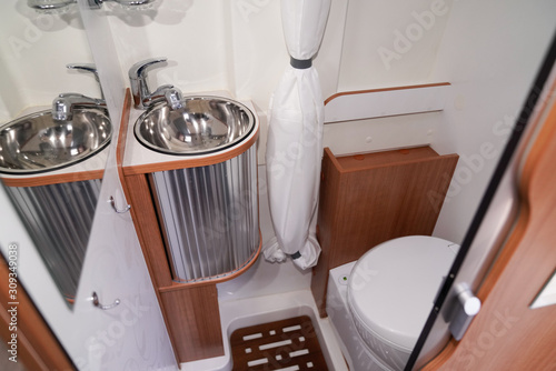 fototapeta na szkło Camper Bathroom modern vanlife sink van RV washroom toilet sink shower cabinet
