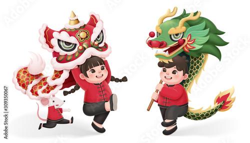 kids perform lion and dragon dance Tablou Canvas