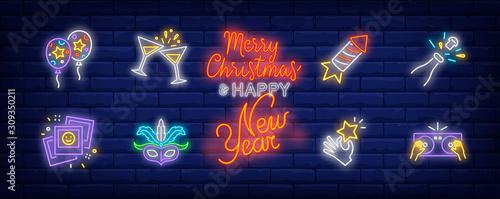 Fotografia, Obraz  Party neon sign set