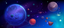 Planets In Outer Space With Sa...