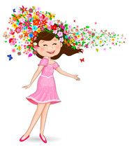 Happy Girl With Flowers And Bu...