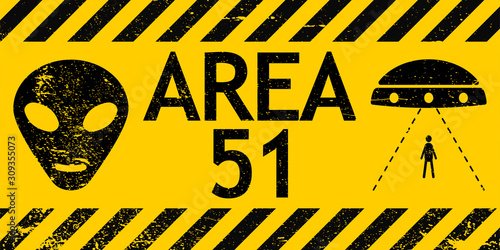 Grunge sign zone area 51 Nevada UFO vector sign warning of alien abduction UFO Wallpaper Mural