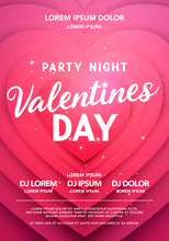 Vector Illustration Valentines Day Party Night Poster. Modern Background With Heart Shape.