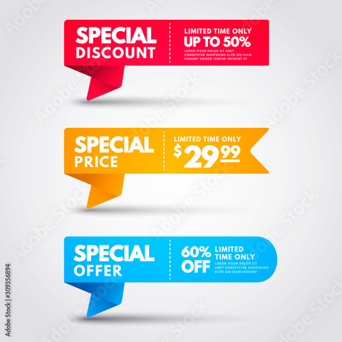 Vector Illustration Special Price Banner Collection. Colorful Discount Flag Set.