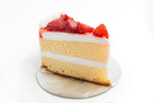A Piece Of Cake With Strawberry On Top