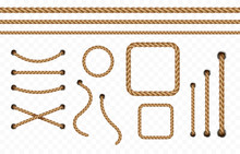 Rope Frame Set Isolated On Transparent Background. Vector Realistic Texture Jute, Lace Or Cord With Metallic Holes. 3d Fiber Strings Borders..
