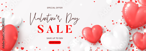 Valentine's Day sale horizontal banner. Vector illustration with realistic pink and white air balloons and confetti on white background. Holiday gift card. Promotion discount banner.
