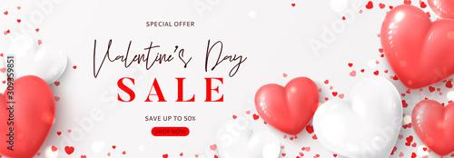 Fotografia, Obraz  Valentine's Day sale horizontal banner