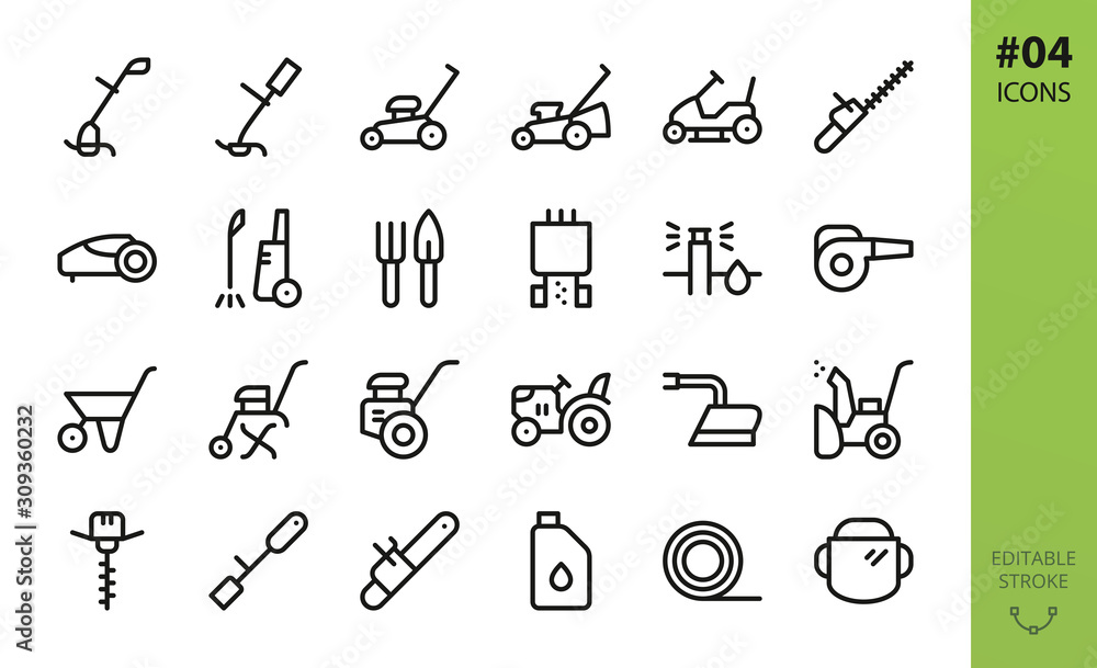 Fototapeta Garden tools icons set. Set of grass trimmer, lawn mower robot, high pressure washer, agriculture hand tiller, power gardening tool, snow plow, mini tractor, trolley, trimmer line isolated vector icon