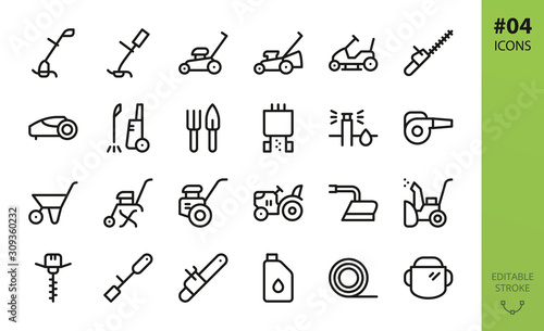 Fototapeta Garden tools icons set. Set of grass trimmer, lawn mower robot, high pressure washer, agriculture hand tiller, power gardening tool, snow plow, mini tractor, trolley, trimmer line isolated vector icon obraz