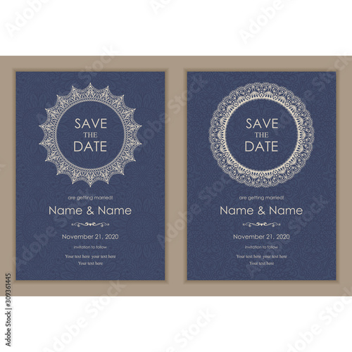 Fototapeta Wedding Invitation And Save The Date Card Eastern