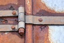 Big Rusty Steel Hinge Holding ...