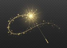 Magic Wand With Golden Swirl A...