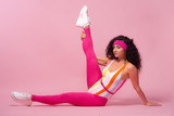 Color background with sport girl, 80s, aerobic