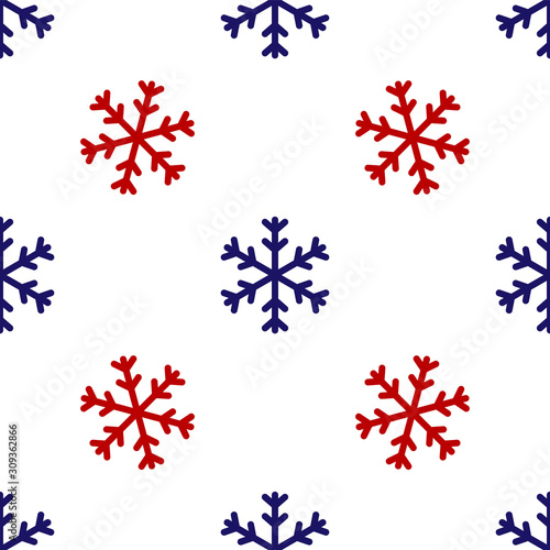 Fototapeta Blue and red Snowflake icon isolated seamless pattern on white background. Vector Illustration obraz na płótnie