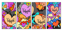 Vector Doodle Illustration Valentine Greeting Card For Social Media Story Background
