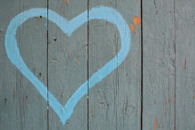 Blue Heart Painted On A Wooden...