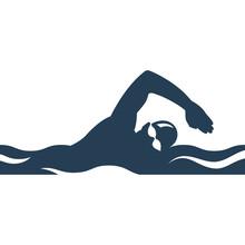 Swimming Black Silhouette. Ath...