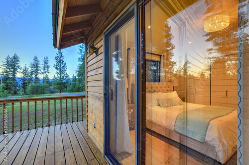 Luxury summer mountain home front and back yard.