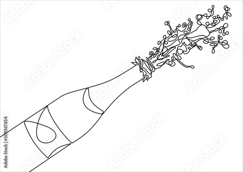 Fotografija bottle of Champagne explosion-continuous line drawing