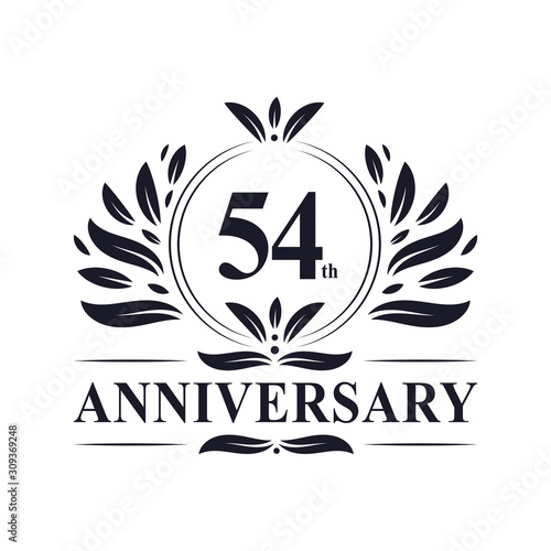 54 years Anniversary logo, luxurious 54th Anniversary design celebration Wallpaper Mural
