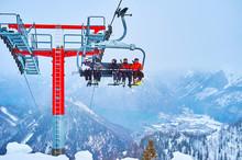 Snowy Scenery With Riding Chairlift, Feuerkogel Mount, Ebensee, Salzkammergut, Austria