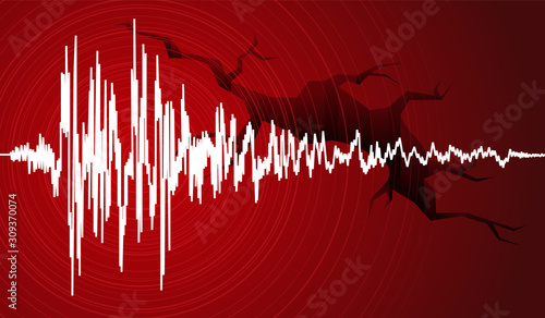Foto Vector illustration of earthquake curve wave and Earth Crack on red background