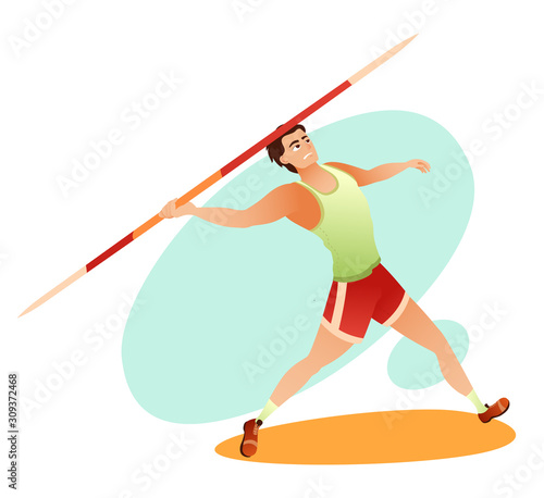 Cartoon strong muscular sportsman throwing javelin Canvas