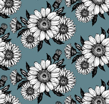 Simple Silhouettes Bouquet Of Daisies Black And White On A Dark Background Pattern