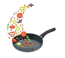 Cooking Pan With Vegetables. H...