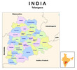 vector illustration of Telangana district map with borders