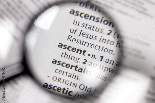 Photo The word or phrase ascent in a dictionary.